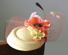 Cream fascinator mini hat coral ivory flowers by FascinatorsFirst
