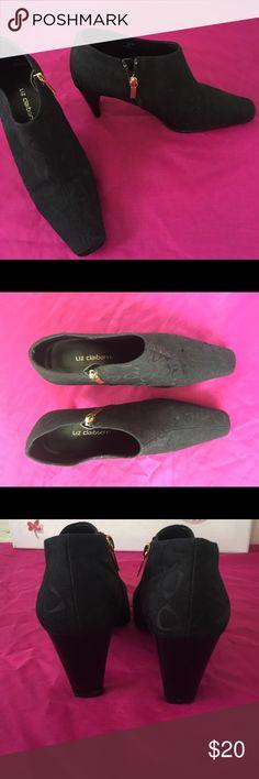 Liz Claiborne heeled ankle boots! Black Cloth Liz Claiborne heeled ankle boots! Only worn a couple times! Liz Claiborne Shoes Ankle Boots & Booties