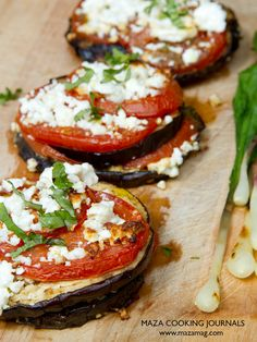"MAZA May recipe: ""Grilled Eggplant with Tomato and Feta""."
