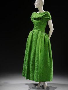 ~An elegant, bright green 1955 evening dress by Hubert de Givenchy, who was Audrey Hepburn's favorite designer~