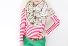 Handmade crocheted scarf - I totally want to make this for this coming fall! Crocheting goes so much faster than knitting.
