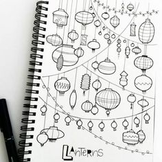 Le dessin crayon noir et blanc dessin couple noir et blanc chouette lanternes cool dessin