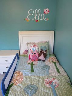 Fabric WALL NAME DECALS Owls Love Birdies Girls by ToadAndLily, $55.00