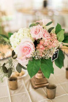 Pink & White Rose Hydrangea Centerpiece | AJ Dunlap Photography