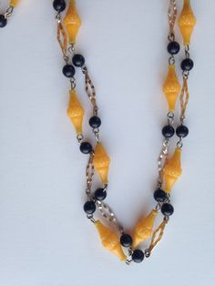 Long Plastic yellow beaded necklace, vintage plastic beaded, vintage plastic beaded necklace, yellow black necklace, necklaces plastic beads by DuckCedar on Etsy