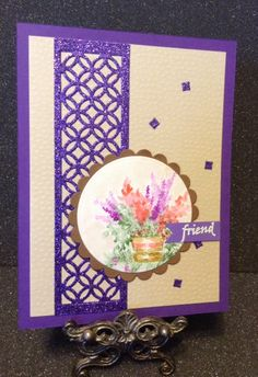Art Impressions Rubber Stamps: Wonderful Water Color.  Handmade watercolor card. pot, flowers, foliage