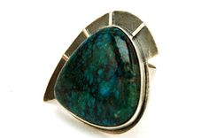 Chrysocolla Ring  Sterling Silver Ring  Gemstone by HyppieChic