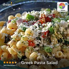 Greek Pasta Salad from Allrecipes.com #myplate #grain #veggies #dairy