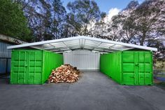 container shed - offset car port, wood shed, tool storage, DIY shed and long term box room all in one aspect