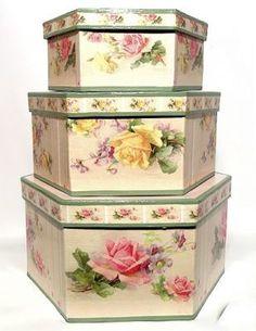 Romantic Rose Octagonal Romantic Rose Decorative Nesting Nested Boxes