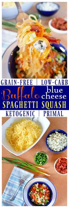 Buffalo Blue Cheese Spaghetti Squash combines the flavors of football season in a healthy twist! Not only does the spaghetti squash provide lots of vegetables, but it is grain-free, gluten-free, low-carb / low-glycemic, keto diet-friendly and Primal. Directions for how to cook spaghetti squash the right way are included!