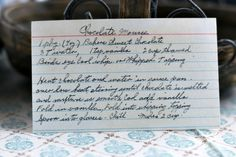 Step back in time with this vintage Chocolate Mousse recipe. Read about this recipe card's history and view other recipes at the Vintage Recipe Project