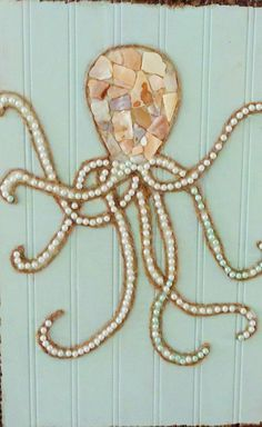This item is unavailable- Octopus Wall Art- Original Beach Décor- Mixed Media Collage- inches. This whimsical octopus is on an aqua painted wood plank. I Used twine Beach Wall Decor, Beach House Decor, Beach Condo, Octopus Wall Art, Octopus Octopus, Beach Crafts, Seashell Crafts, Seashell Art, Starfish