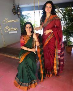 Sakhifashions The comfort and grace of simple Cotton sarees Kerala Saree Blouse Designs, Cotton Saree Blouse Designs, Cotton Sarees Handloom, Soft Silk Sarees, Silk Lehenga, Trendy Sarees, Stylish Sarees, Simple Sarees, Maharashtrian Saree