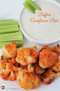 Buffalo Cauliflower Bites - A healthy alternative to the traditional buffalo wings or buffalo chicken dip.