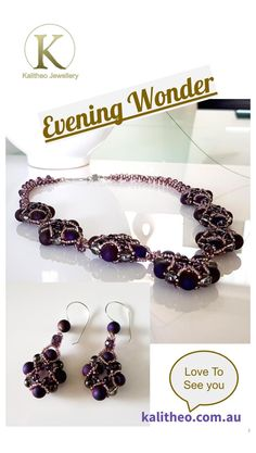 Purple Agate Beaded Necklace is the Evening Wonder Handmade Necklace. A Statement Necklace that has been designed for evening wear, in saying that it will bring a sparkle to your day wear and Elegance to your evening wear. Look fabulous in this unique 51 cm Necklace Design, sits perfectly on your decolletage. Wear it on its own or pair it with the long drop earrings creating a beautiful Jewellery Set, for any special or festive occasion. #beaded #necklace #handmadejewellery #purplejewellery