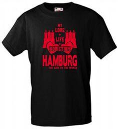 INDIVIDUELLES HAMBURG MY LOVE+LIFE+ADDICTION SPORT FREIZEIT FUSSBALL T-SHIRT!