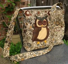 Concealed Carry Purse: Original Brown Geometric  messenger bag with Appliquéd Owl