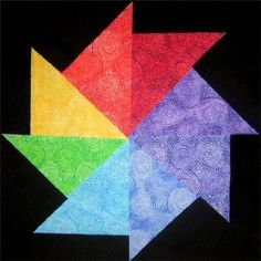 Amish fabric Pinwheel Quilt Block Kit - Brights - 4 SQUARES SHIPS FREE 3 FREE PATTERNS