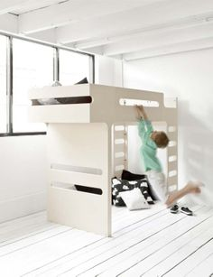 F Bunk Bed - Designer Furniture for Children's Room - Rafa-kids Bunk Beds For Boys Room, Childrens Bunk Beds, Bunk Bed With Desk, Kid Beds, Loft Beds, Modern Bunk Beds, Modern Loft, Modern Kids, Beds For Small Spaces