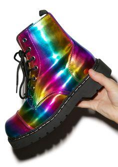T.U.K Rainbow 7 Eye Boot   Dolls Kill More