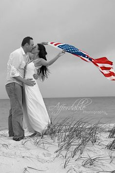 The best wedding picture idea! On the beach, black & white with the American flag in color. Great tribute to my husband in the army.