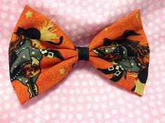 Halloween Witch and Broom Orange Fabric Hair Bow