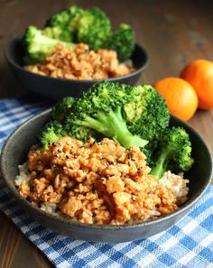 Ground Orange Chicken Brown Rice Bowls with Broccoli. added assortment of veggies. more orange next time
