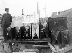 Kanalbrücke Minden/MLK. Blick auf die Gelenke der Strombögen (im Bild Stromgewölbe genannt) vor dem Einbau. Aufnahme aus dem Jahr 1912.