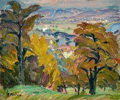 """pintoras:  Elisabeth Andrae (German, 1876 - 1945): The """"blue wonder"""" in autumn (c. 1916) (via Galerie Barthelmess & Wischnewski)"""
