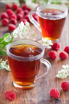 """Yum"" on so many delectably soothing levels. Raspberry Tea. #raspberries #tea #drinks #beverages #entertaining #teaparty #fruit #comfortfood #food #cooking #summer"