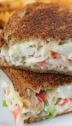 Use light swiss (one block for one sandwhich, 2 for Add… Crab Grilled Cheese. Use light swiss (one block for one sandwhich, 2 for Add spinach, tomato, and dijan or saracha. Grill Sandwich, Soup And Sandwich, Best Sandwich, Chicken Sandwich, Fish Recipes, Seafood Recipes, Cooking Recipes, Lobster Roll Recipes, Barbecue Recipes