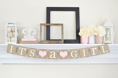Its a Girl Banner, Baby Shower Decorations, Its A Girl Sign,  Baby Shower, Pink Baby Shower Decorations, Baby Announcements