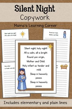 "Download a free packet of ""Silent Night"" copywork for your young learner! Elementary lines and plain lines available."