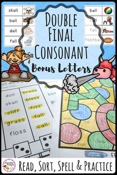 Your first graders will love practicing the double final consonant/ bonus letter rule as they do a word sort, worksheet practice, and complete more fun activities to practice double final consonants. Great for a word work center for your 1st graders!