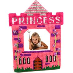 Pink princess Plastic canvas photo frame craft kit. Princesses and fairies will look right at home in this stunning photo frame #hobby #plasticcanvas #crafts