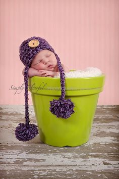 Newborn Photo Prop Newborn Baby Girl Hat Knit by PropWiseBaby
