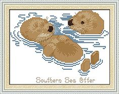 Happy Forever Cross Stitch Animal ,sea otters