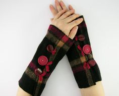 arm warmers fingerless mittens fingerless gloves arm cuffs recycled wool plaid black red eco friendly unisex therougett curationnation. $26.00, via Etsy.