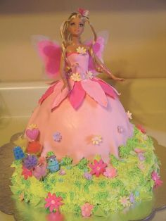 She is choosing barbie fairy birthday cakes now. Fairy Birthday Cake, Birthday Candy, Barbie Birthday, Barbie Party, 3rd Birthday, Barbie Fairy Cake, Barbie Cake, Barbie Fairytopia, Butterfly Cakes