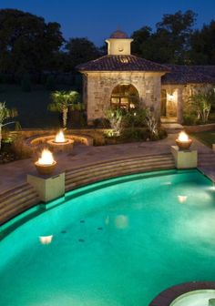 Poolside Luxe..firepit bench, fire bowls, guest house