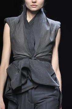 Slate blue top, chic fashion details // Haider Ackermann Fall 2010