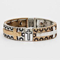 Burnished Antique Goldtone and Silvertone Cross Stretch Bracelet