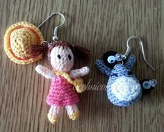 Mini crocheted Mei and Totoro earrings