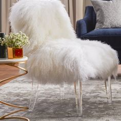 Show-stopping, head-turning accent chair is unique in every way. The combination of bountiful, white sheepskin and clear, acrylic legs will steal your heart. Add it to any room for instant glam. Glam Living Room, Living Room Seating, Dining Room, Glam Bedroom, Dining Chairs, Bedroom Decor, Swivel Barrel Chair, Old Chairs, Black Chairs