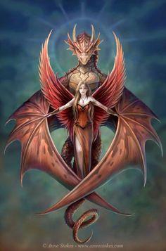 red stylized dragon [Fantasy Art Addiction: www.facebook.com/Chinqwe]