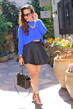 Quilted skirt and crop sweater. Love!