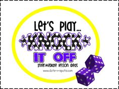 """""""Knock It Off"""" math game for practicing multiplication facts! Uses 12 sided dice, game board, math chips."""