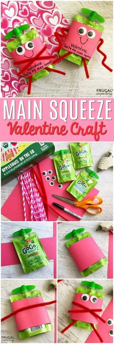 Create these adorable You're My Main Squeeze Valentine Craft with GoGo Squeez applesauce on the go on Frugal Coupon Living. Awesomesauce. #GoodnessOnTheGo #valentinesday #valentinesdaycraft #valentinecraft #valentine #craftsforkids #valentinesforkids #valentines #Awesomesauce