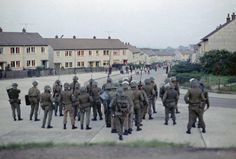 British troops confront young rioters on the Ballymurphy Estate in Belfast, Northern Ireland in (AP Photo/Peter Kemp) Ref Northern Ireland Troubles, Belfast Northern Ireland, Military Units, Military History, Northern Island, Army Day, British Armed Forces, British Government, British Army